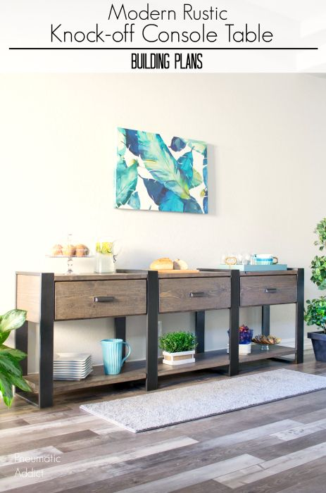 Rustic Modern Knockoff Console Table Rustic console tables