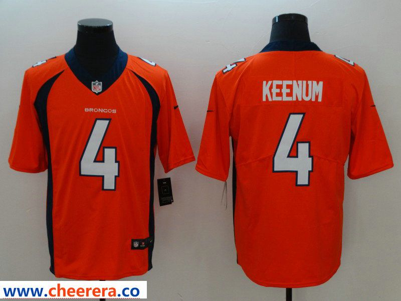 new styles df10d 2057b Men's Nike Denver Broncos #4 Case Keenum Orange Vapor ...