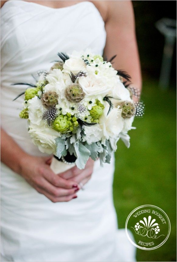 white and green rustic chic/glam bouquet--lots of textures with feathers which gives it a slightly whimsy feel