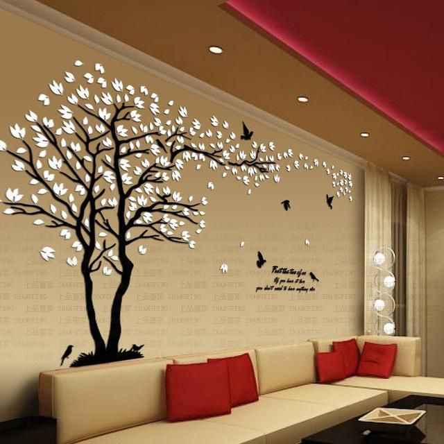 New Arrival Lovers Tree Crystal Three Dimensional Wall Stickers
