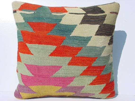 Modern Kilim Pillows : MODERN Bohemian Home Decor,Handwoven Turkish Kilim Pillow Cover 16