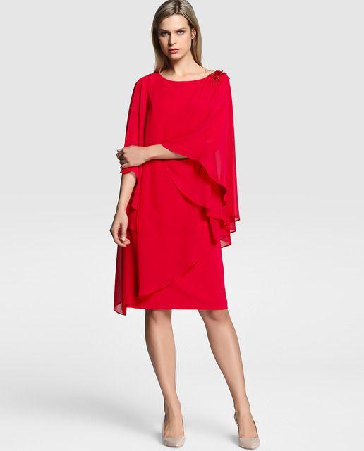 Vestido de mujer Gina Bacconi de tipo capa con pedrería en el hombro
