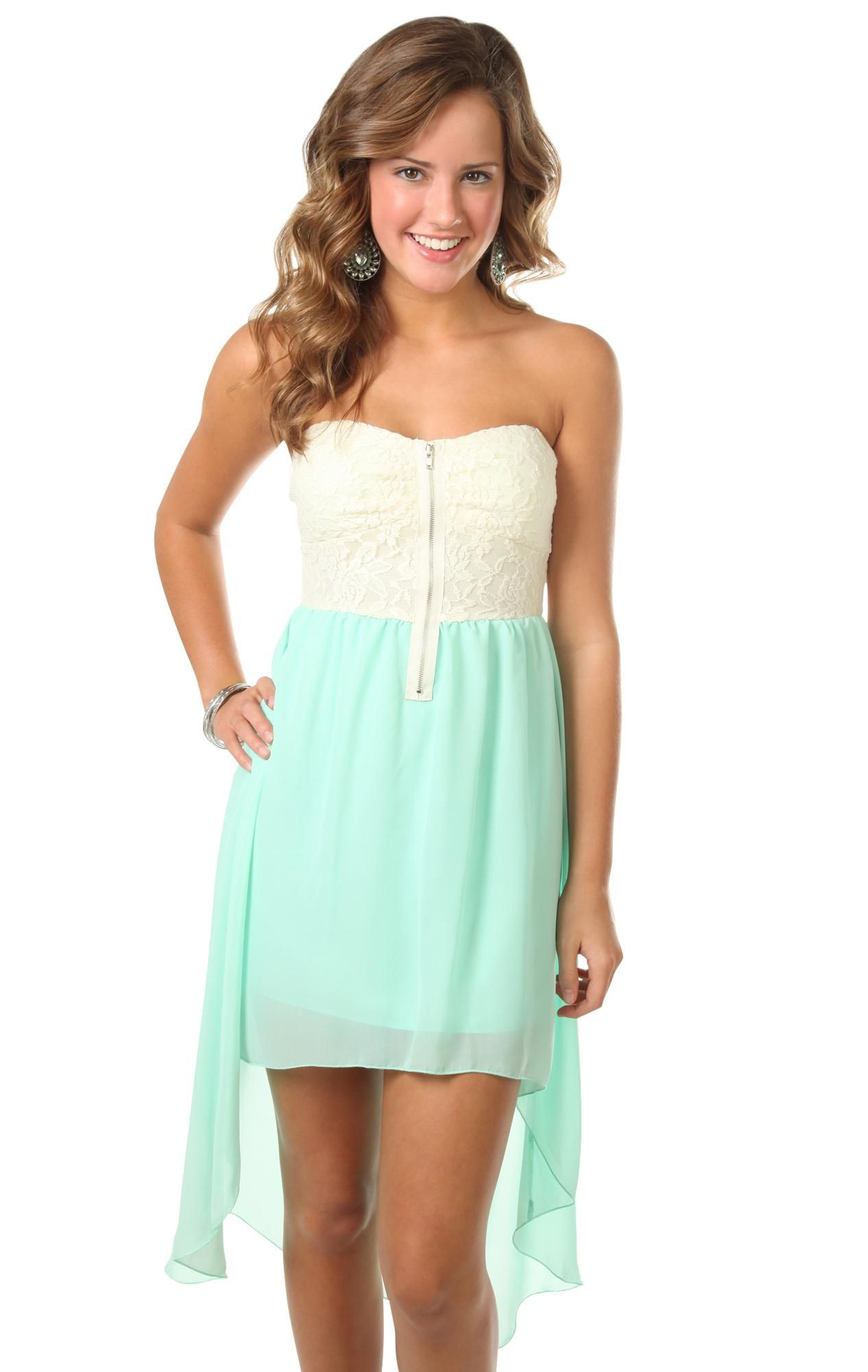 Strapless high low dress with lace bodice th grade dance