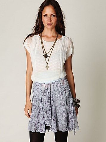 Free People Feathered Wings Printed Chiffon Skirt at Free People Clothing Boutique - StyleSays