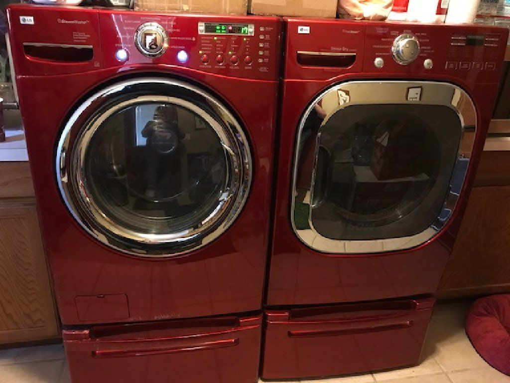Lg Frontloading Washing Dryer Red With All Bells Whistles