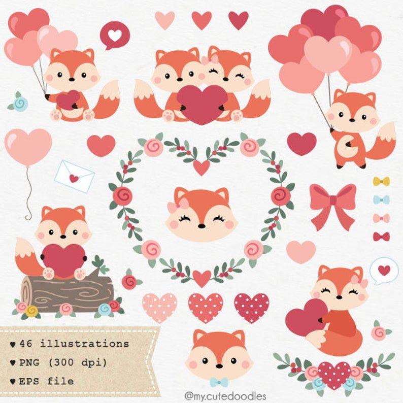 Valentines Day Clipart Woodland Animals Cute Fox Love Etsy In 2021 Valentines Day Clipart Animal Valentine Valentine Clipart