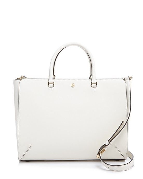 NWT TORY BURCH ROBINSON LARGE IVORY LEATHER ZIP TOP TOTE $595 #ToryBurch #TotesShoppers