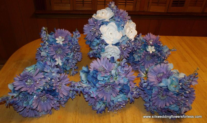 Wisteria And Cornflower Blue Silk Wedding Flower Set At Www Silkweddingflowersforless Com Silk Flowers Wedding
