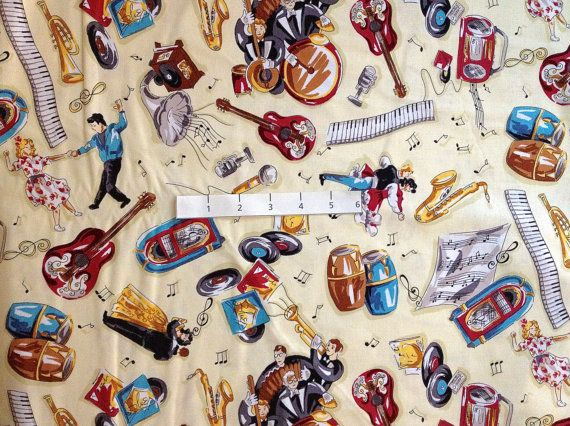 Rare MUSIC Quilt Fabric - Guitar Victrola Drums Horns Blues Sheet ... : music quilt fabric - Adamdwight.com