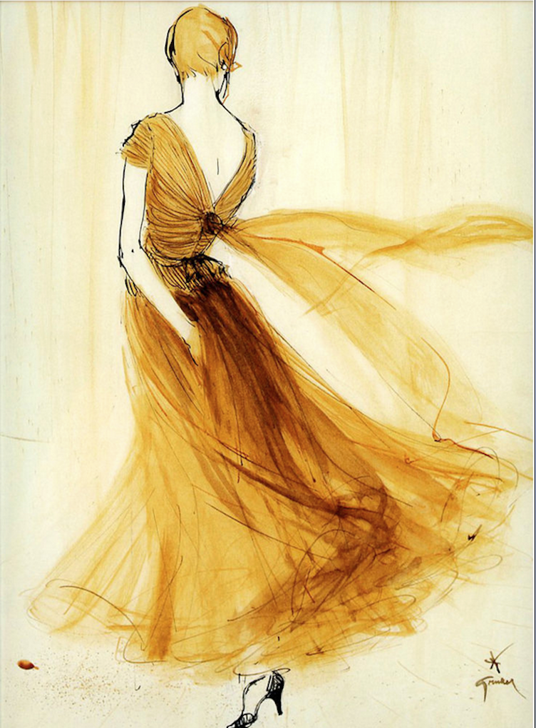 mousseline evening dress by chanel illustrated by rene gruau 1957 source sophia on flickr