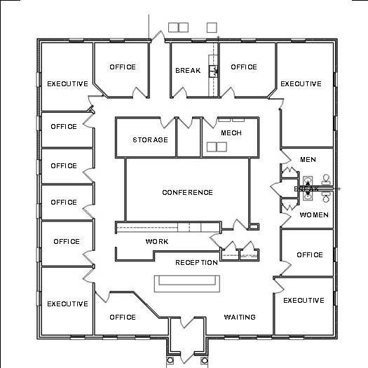 Office design floor plan officedecorating plans and home for Commercial building blueprints free