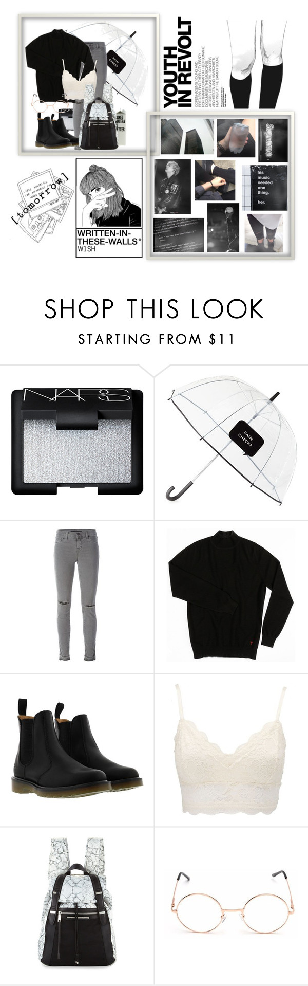 """""""•Yesterday is Today, Today is Yesterday•"""" by daydreaminginthedark ❤ liked on Polyvore featuring NARS Cosmetics, Kate Spade, J Brand, Dr. Martens, Charlotte Russe, Hedi Slimane and French Connection"""