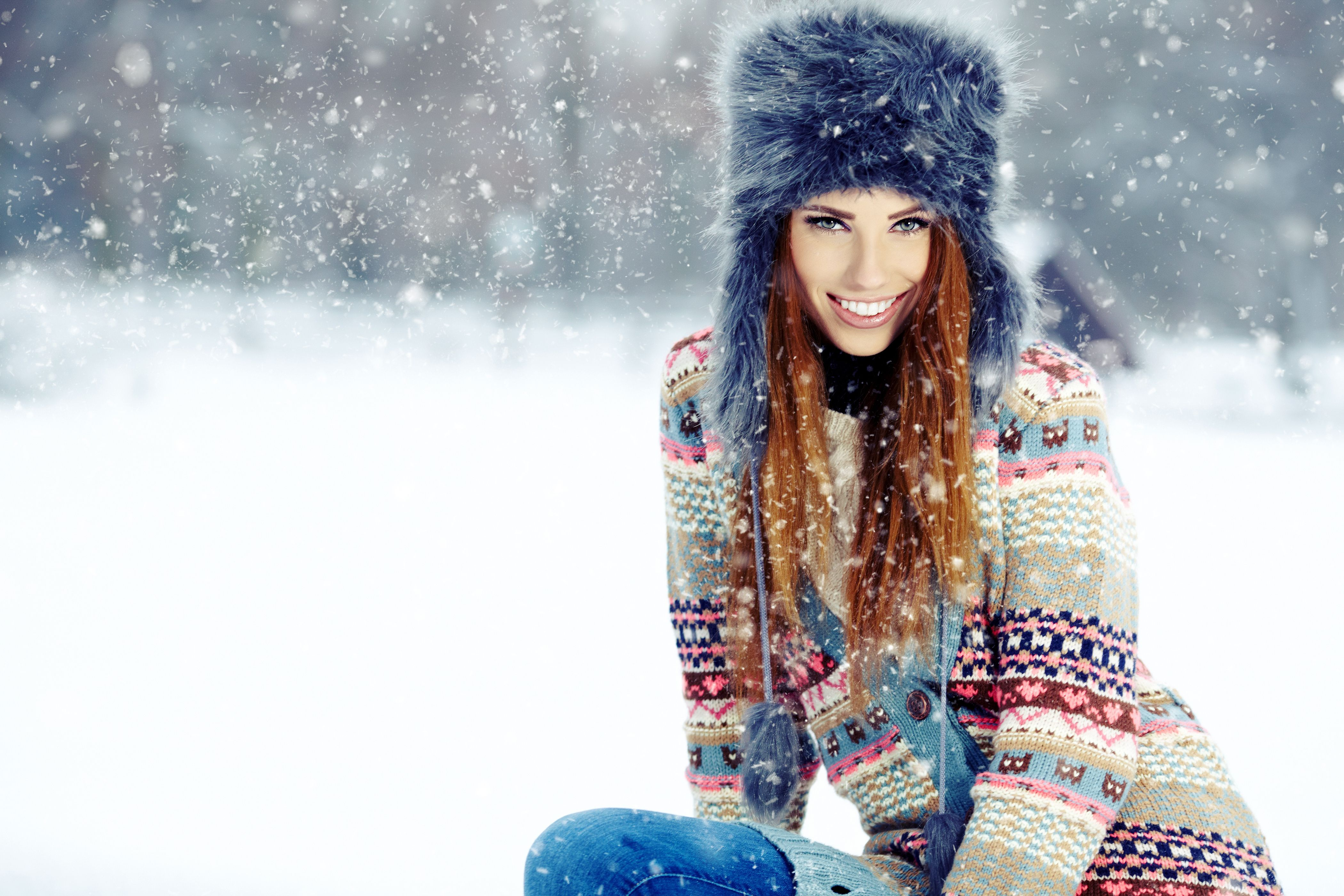 Sonrisa nieve del invierno Hermosas Fem Pinterest