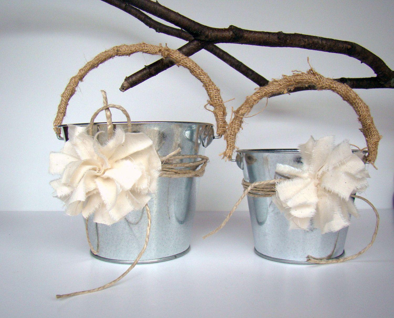 Flower Girl Basket Pail Rustic, Larger, Wedding Favor Container ...