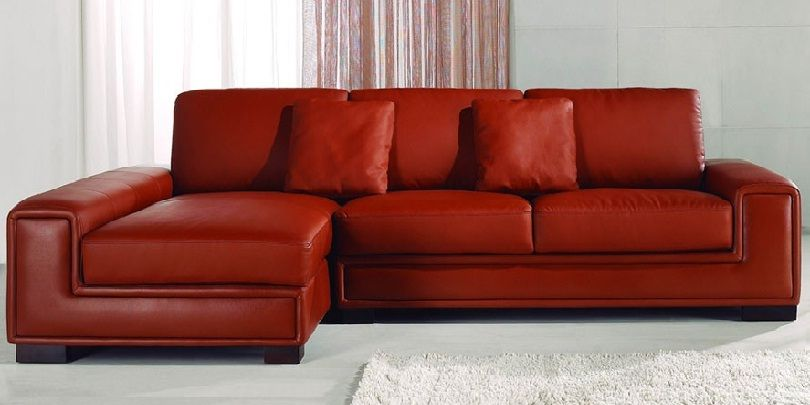 Small Red Leather Corner Sofa