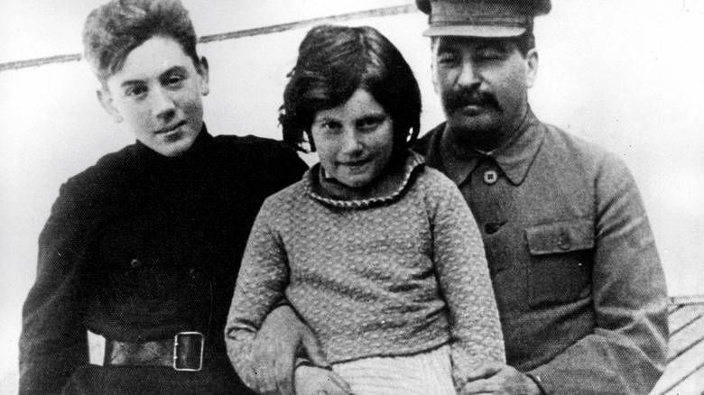 Stalin with his his daughter Svetlana and youngest son Vasilij