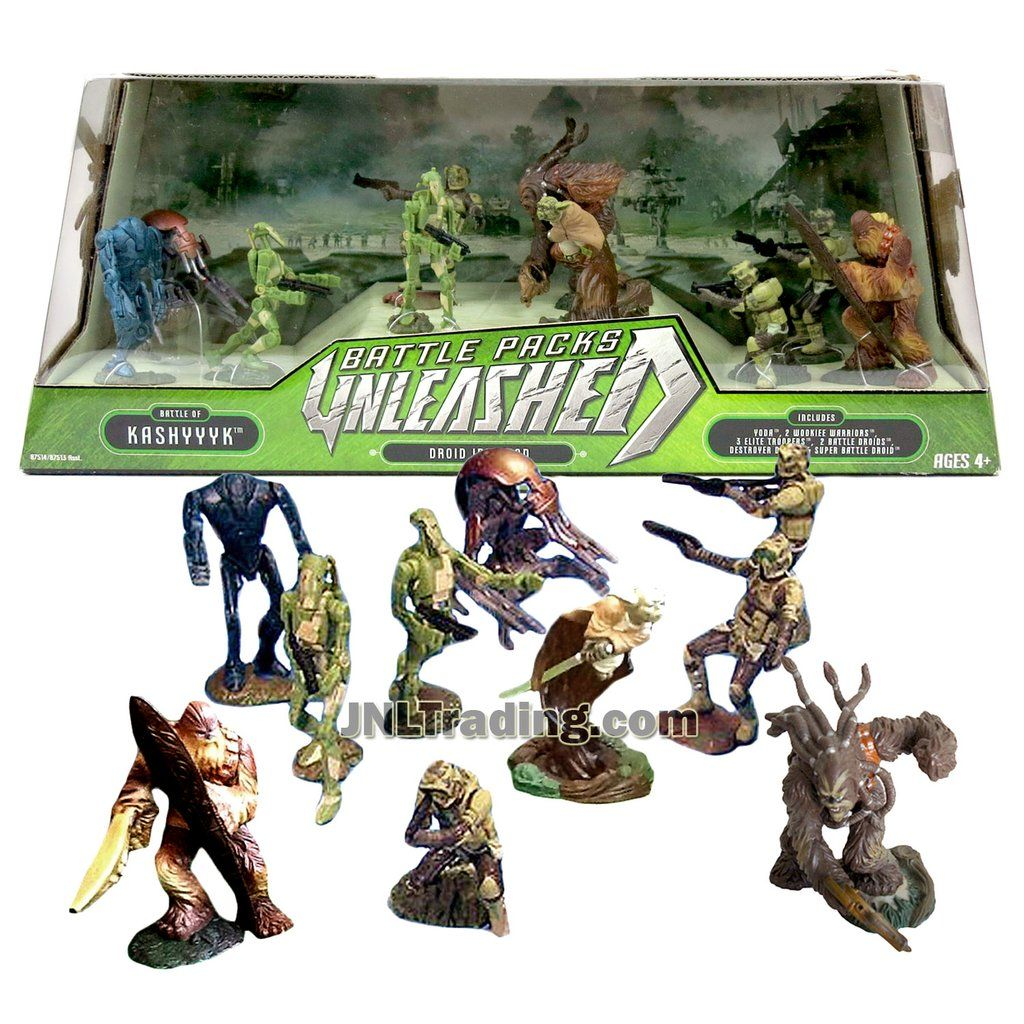 Star Wars Year 2007 Revenge Of The Sith Unleashed Series 2 1 2 Inch Tall Figure Battle Pack Set Battle Of Kashyyyk Droid Invasion With Yoda 2 Wookie Warriors Star Wars Toys Battle Droid Star Wars