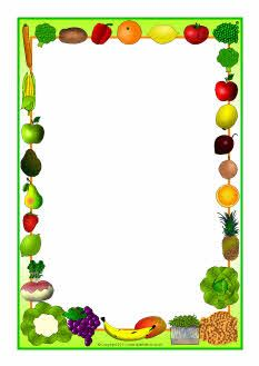 Fruit Border Clip Art Fruit and vegetables themed A4