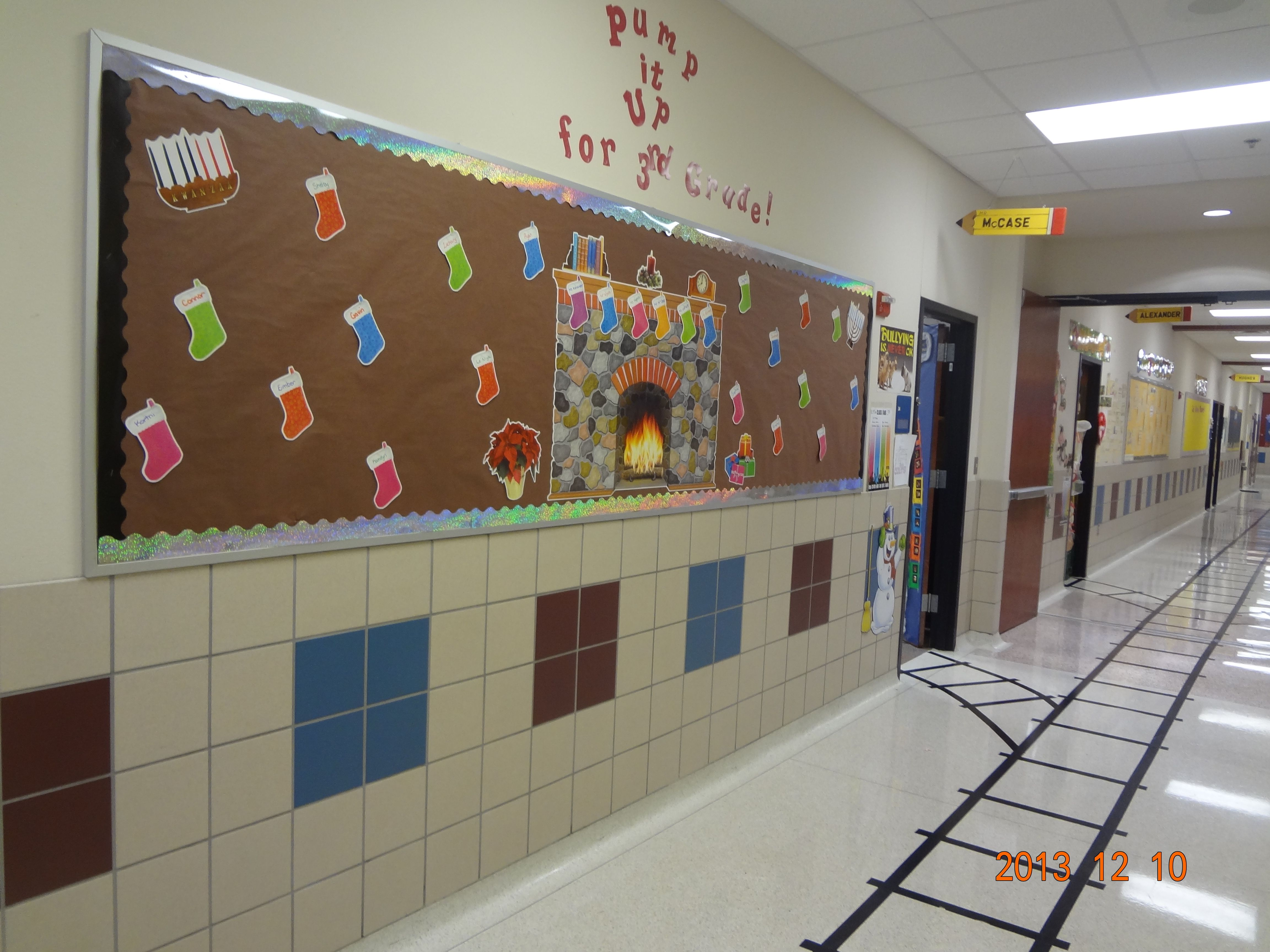 Classroom Train Decor ~ Polar express tracks in the hallway and going to class