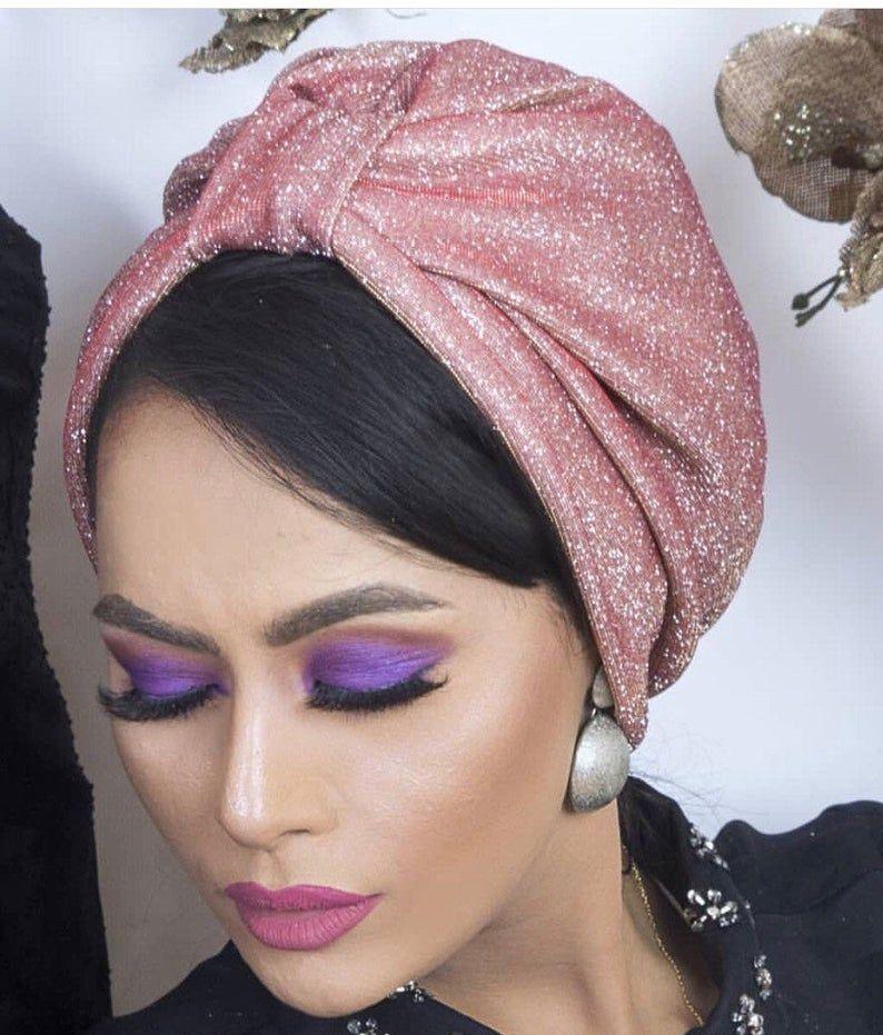 Original Design Glitter Fabric Turban Sparkling Turban Etsy Glitter Fabric Turban Turban Style