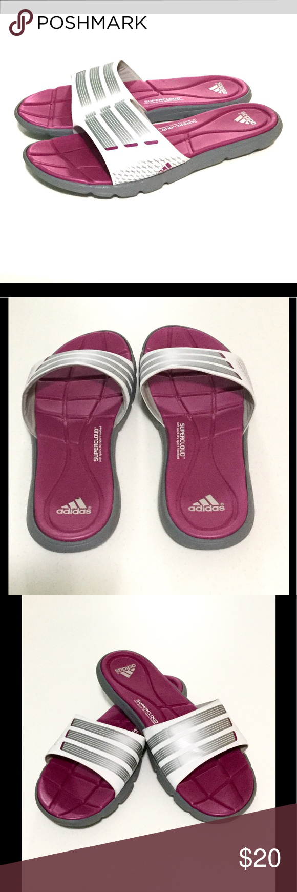 98c84ed8060f31 Adidas Slides Pink and White with Cloudfoam Soles These Adidas slides    sandals   slippers