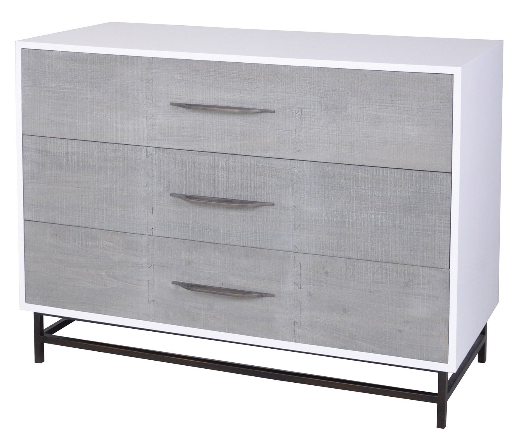 Weathered Wood Drawers Bring A Natural Texture To This Contemporary Storage Piece Framed In White And Featuri Three Drawer Dresser Wood Drawers 3 Drawer Chest