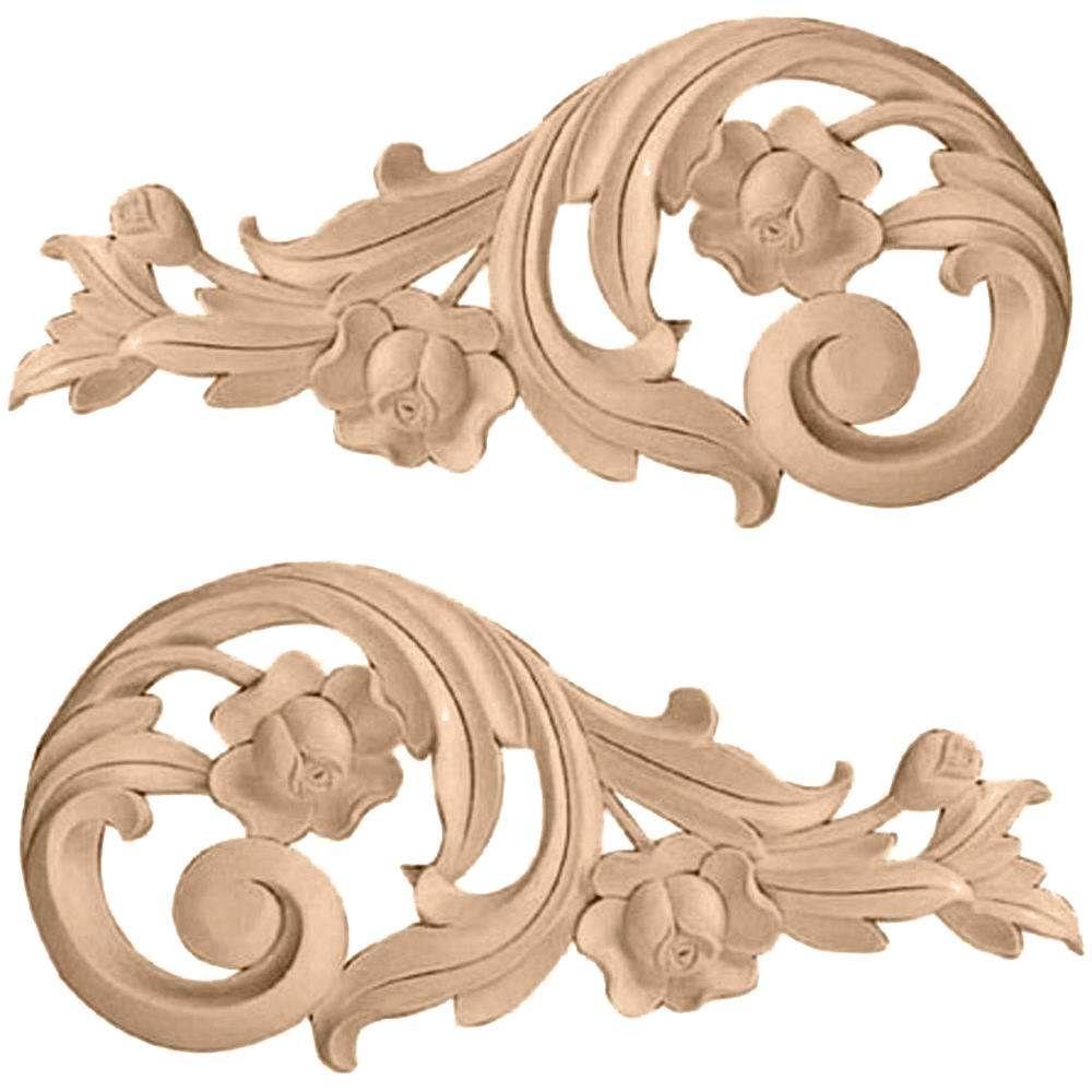 Decorative Wooden Mouldings. 11 x 5  Each Side Large Rose Scrolls Pair Alder Wood Appliques Onlays Moulding Medium Decor Ornamental Moldings Pinterest
