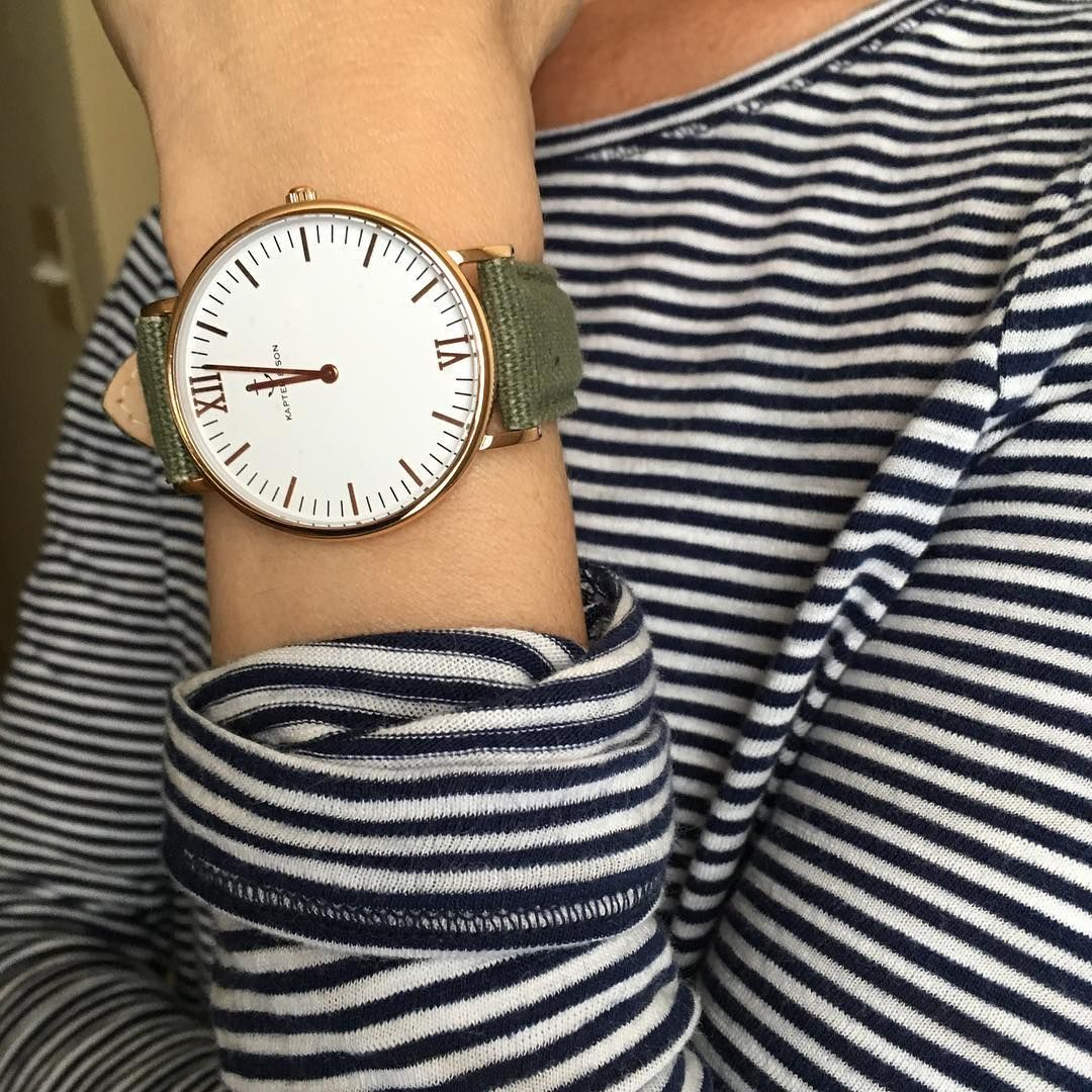 Nautical Stripes and my Canvas Olive watch #sponsored #Kapten&Son