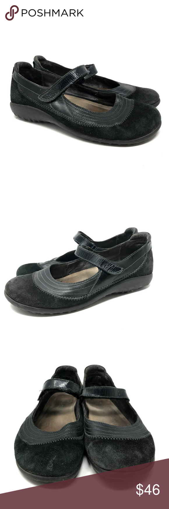 Naot Kerei Mary Jane Shoes 38 / 7.5-8 US Naot Kerei Suede Leather Mary Jane Shoes 38 / US 7.5-8   The Kirei is a vibrant, fashionable Mary Jane shoe. This style has a padded heel cup for stability & comfort and a hook & loop closure at the instep for adjustability. The front portion of the Kirei features padded technical lining which provides comfort and absorbs moisture. This collection uses a hand-sewn stroble construction making it strong and extremely flexible.  090618-MS Naot Shoes