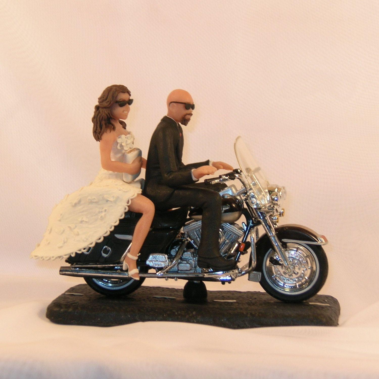 Items Similar To Motorcycle Wedding Cake Topper Bald Groom Bride Holding White On Etsy