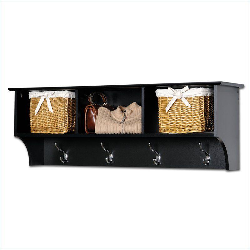 Black Cubbie Shelf Wall Coat Rack For Entryway