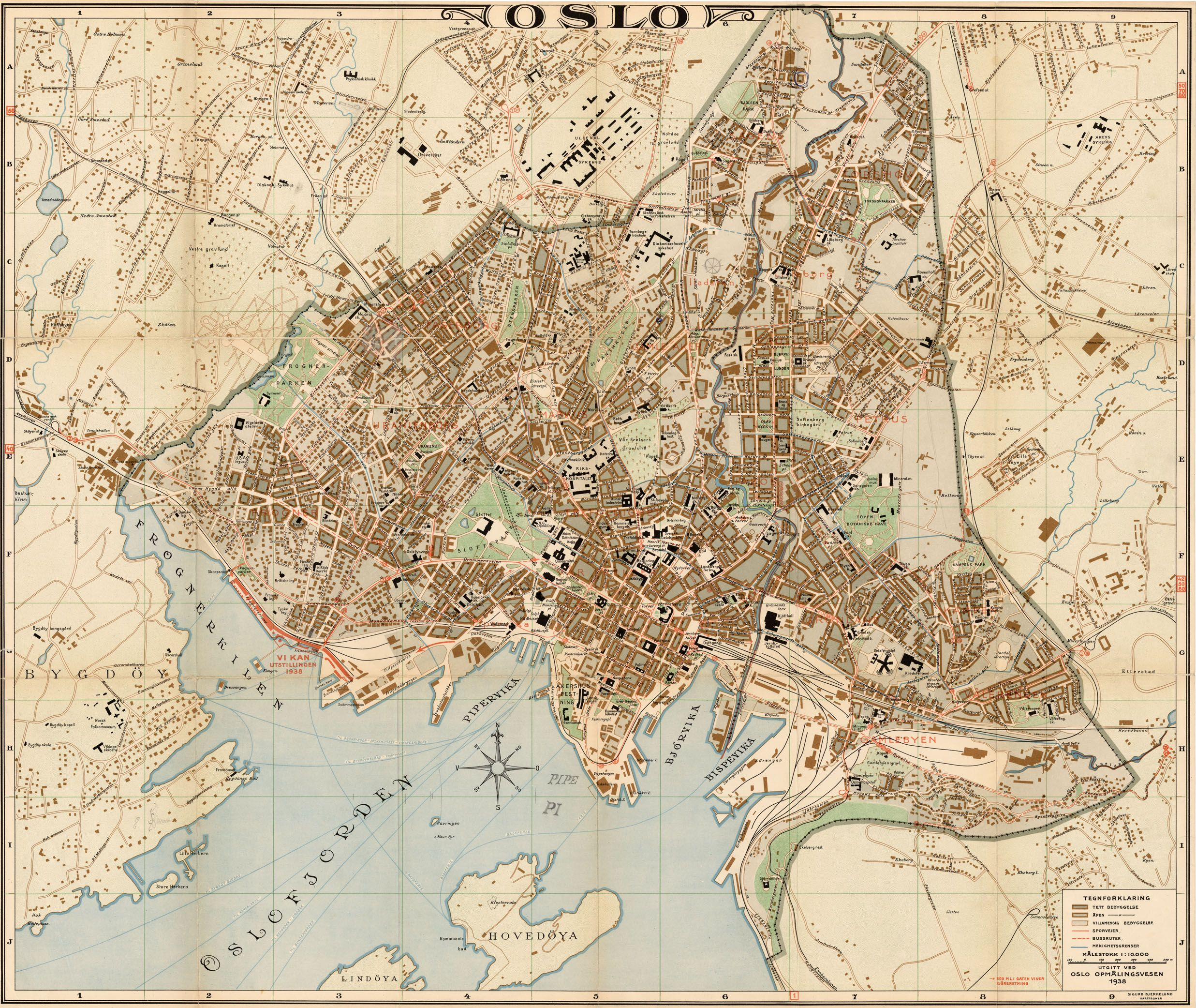 amt2 kristiania Oslo Norway map from 1938 World