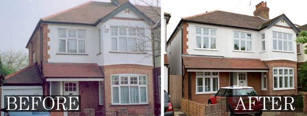 Converting the garage of this 1930s semi detached house for Before after exterior 1930