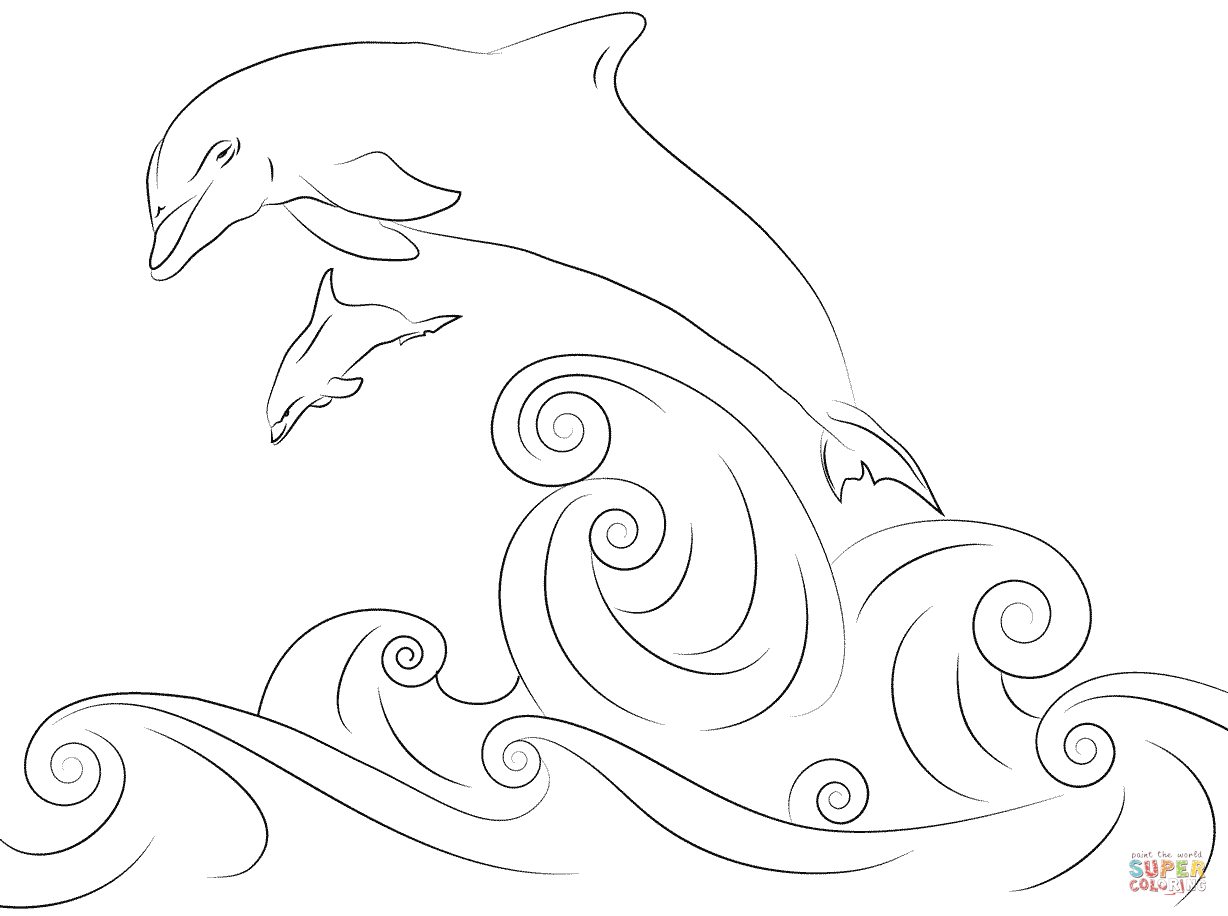 dolphins-jumping-out-water-coloring-pages.png (1228×916) | coloring ...