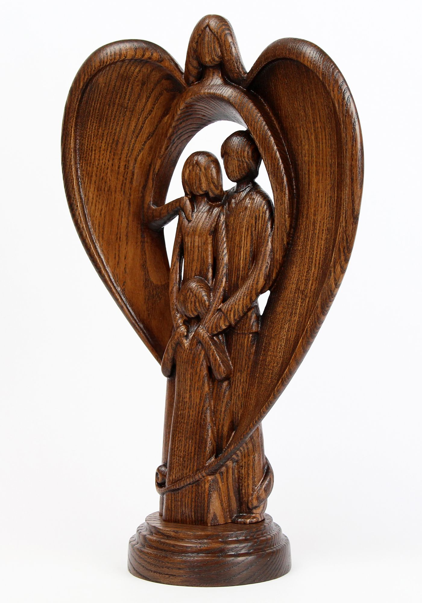 Wooden Angel Sculpture Guardian Angel Statue Hand Carved Wood