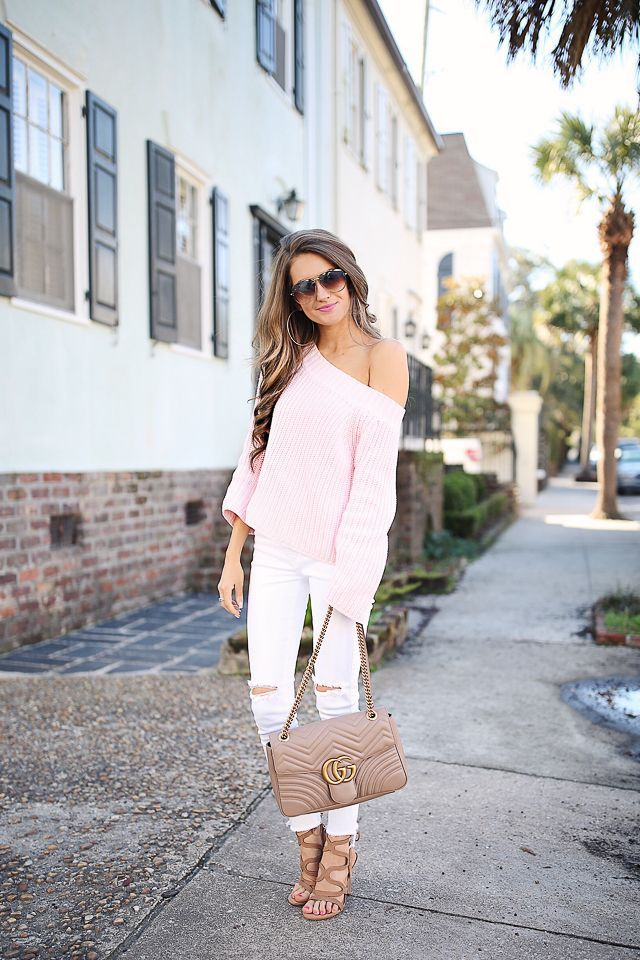 bae990baa89 one shoulder baby pink sweater + Gucci marmont handbag