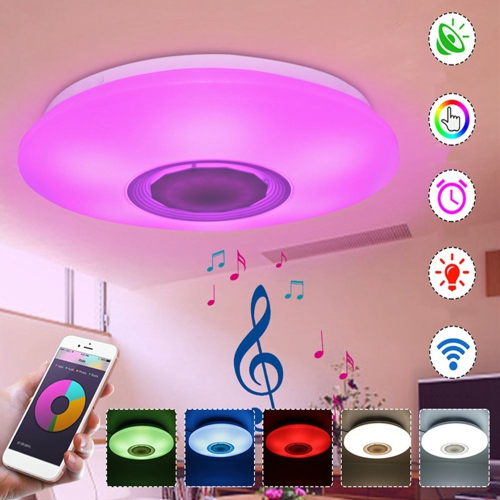 Rgbw App Voice Control Dimmable Bluetooth Speaker Led Ceiling Light Fixture Work With Google Alexa Pricetug Com Led Ceiling Lights Led Ceiling Light Fixtures Ceiling Light Fixtures
