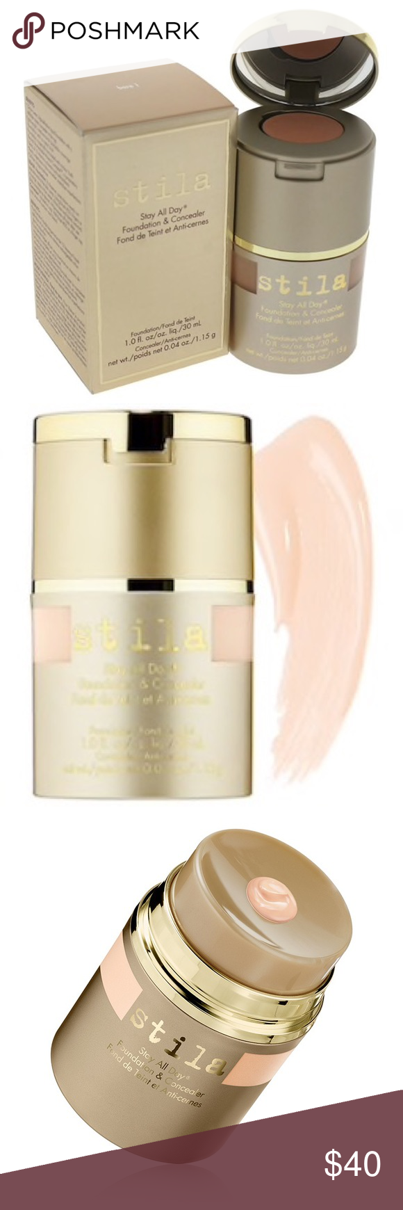 NIB STILA STAY ALL DAY FOUNDATION + CONCEALER Bare 1