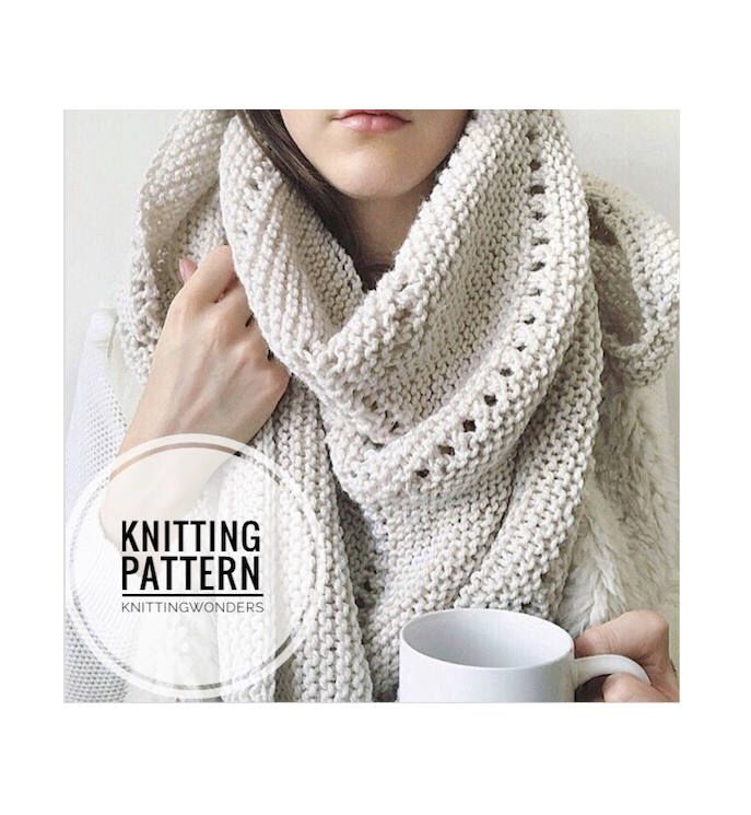 Knitting Pattern | Shawl Scarf Womens Fashion Scarf Instant Download ...