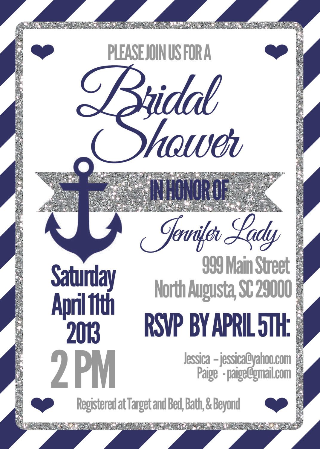 Bridal Shower Invitation Nautical Sparkle by DesigningWest | Gold ...