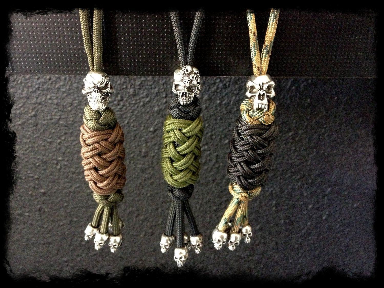 Paracord custom key lanyard with skull bead by for Knife lanyard ideas