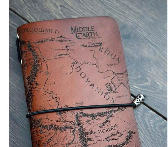 Real genius Leather Notebook Lord of the Rings  Map of Middle