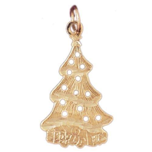 NEW 14k YELLOW GOLD CHRISTMAS XMAS TREE CHARM PENDANT JEWELRY  - Christmas Tree Charms