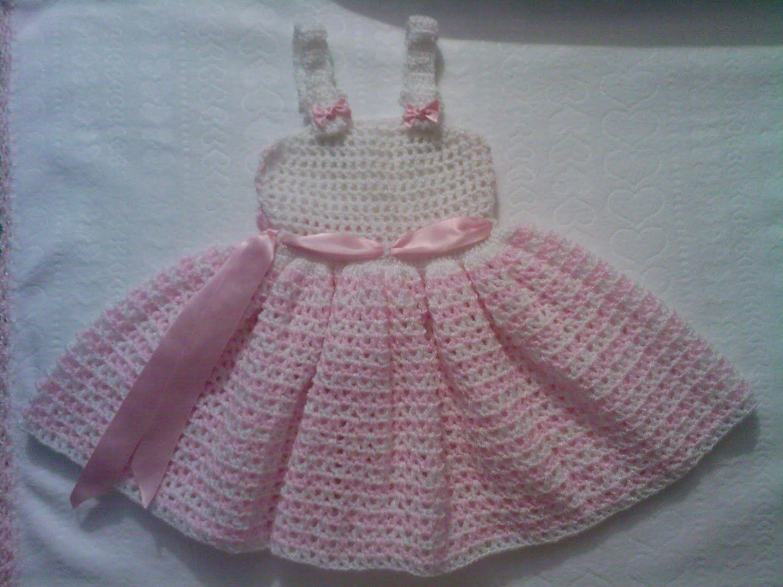 Vestido a ganchillo Blanco rosado