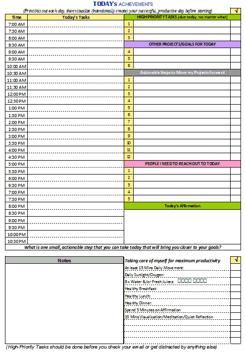 Free Daily Productivity Template  Printables