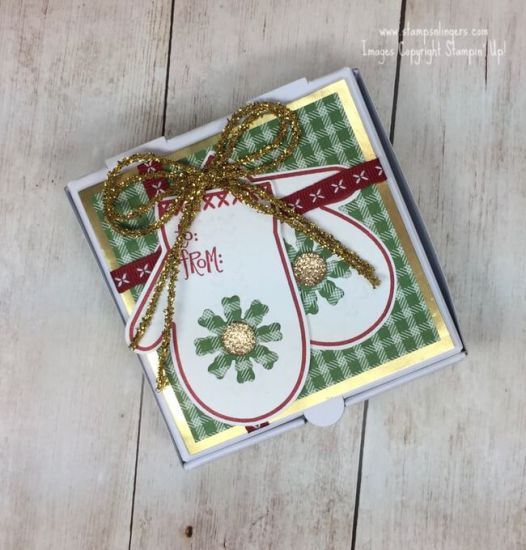 stamps n lingers i made this quick and easy gift box with a mini pizza box the smitten mittens bundle and some quilted christmas dsp i added a