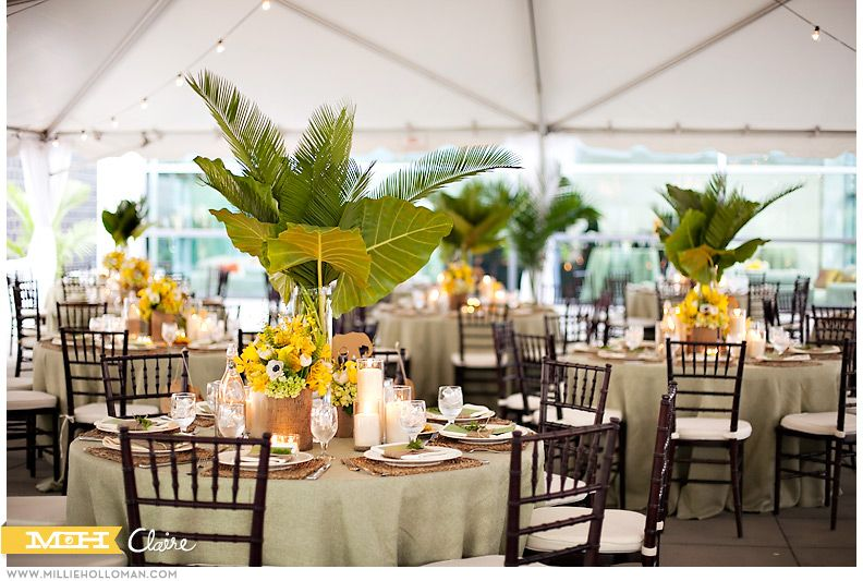 tropical table arrangements with white linens
