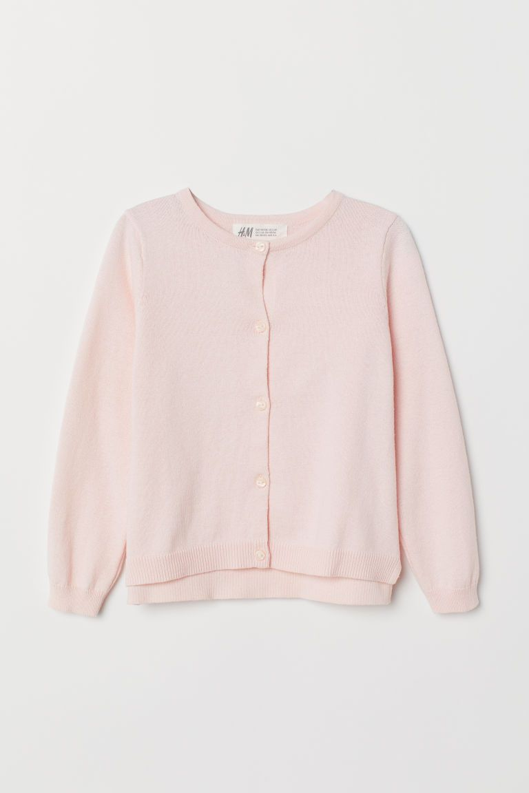 Knit Cotton Cardigan Light Pink H M Us In 2020 Cotton Cardigan Cardigan Fine Knit Cardigan