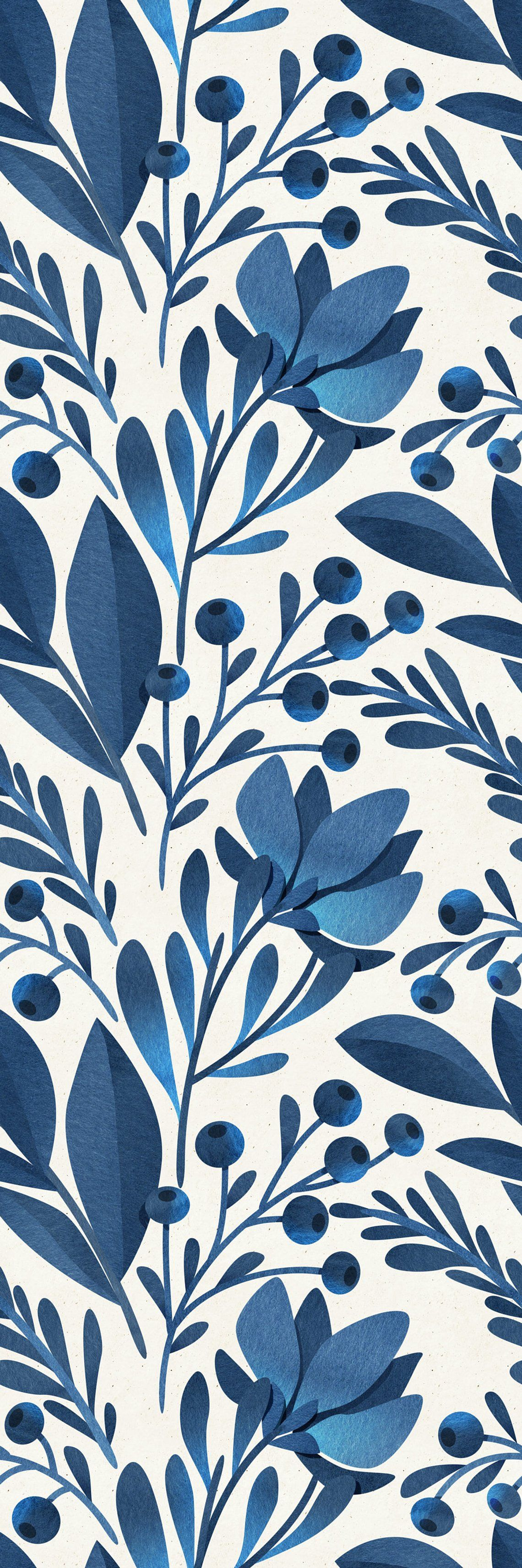 Removable Wallpaper Peel and Stick Wallpaper Self Adhesive Wallpaper Blue Floral Pattern