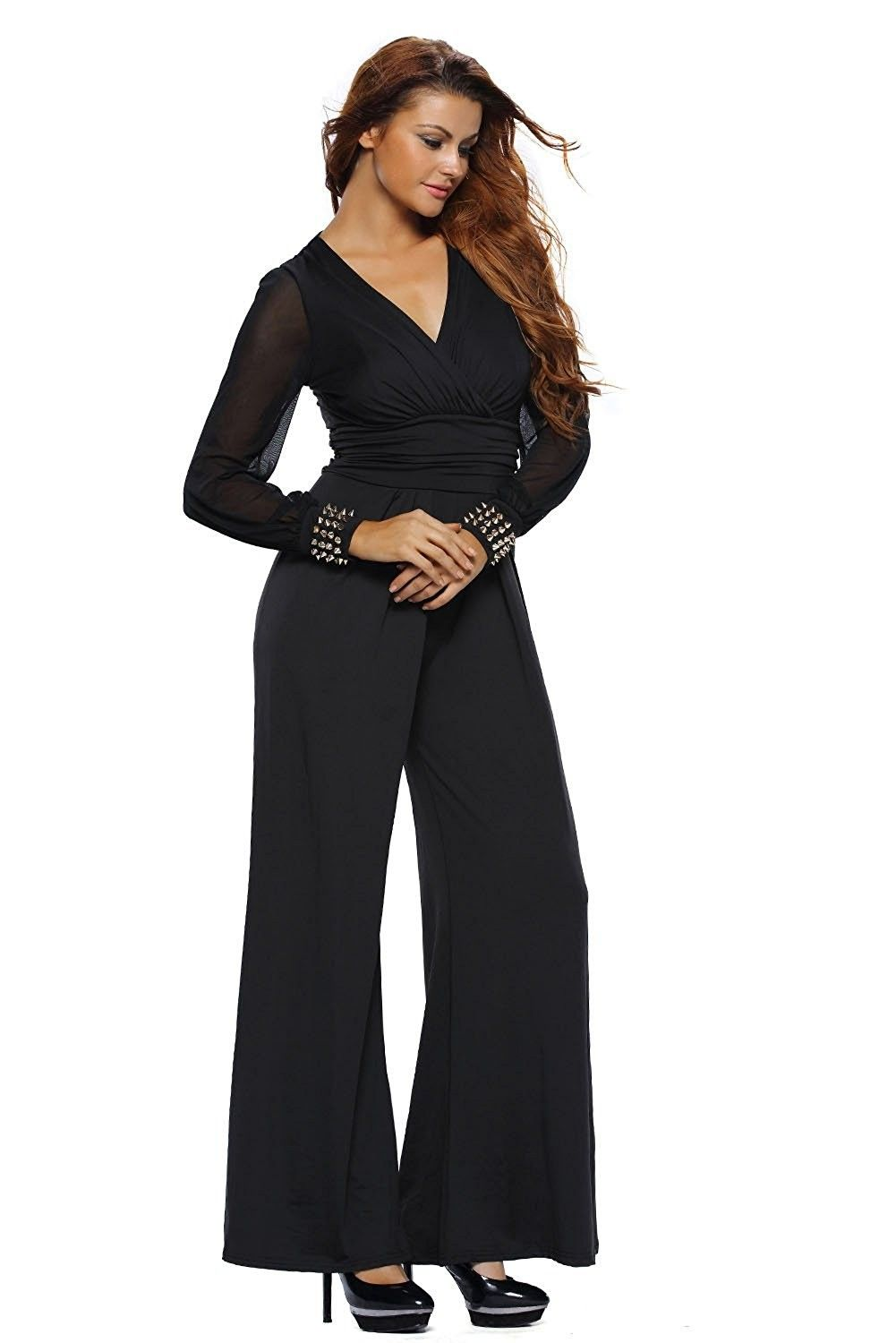 10600999fcbd1 Women s Embellished Cuffs Wide Leg Long Mesh Sleeves Party Cocktail ...